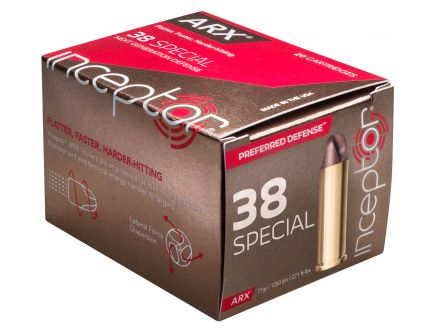 Inceptor Preferred Defense 77 gr ARX .38 Spl Ammo, 20/box - 38ARXBRS920