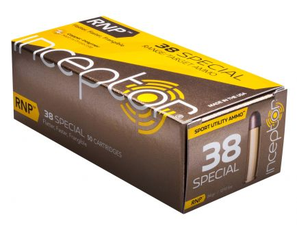 Inceptor Sport Utility 84 gr RNP .38 Spl Ammo, 50/box - 38SPLRNPBR50