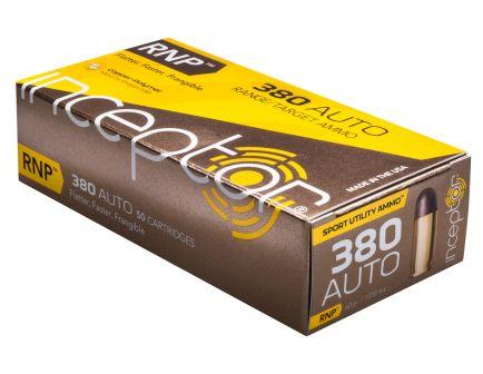 Inceptor Sport Utility 60 gr RNP .380 Auto Ammo, 50/box - 380RNPBR50