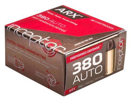 Inceptor Preferred Defense 56 gr ARX .380 Auto Ammo, 25/box - 380ARXBR25