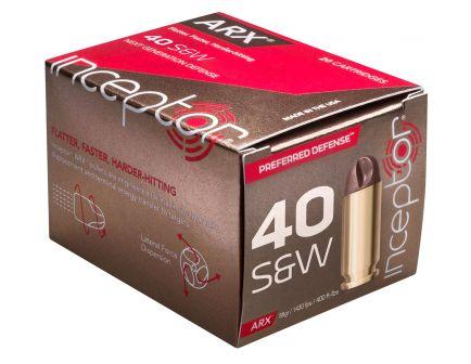 Inceptor Preferred Defense 88 gr ARX .40 S&W Ammo, 20/box - 40ARXBRSW88