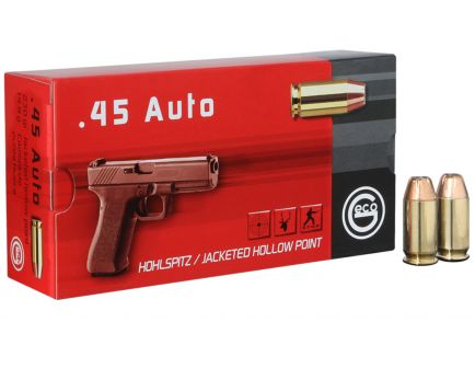 Geco 230 gr Jacketed Hollow Point .45 ACP Ammo, 50/box - 271540050