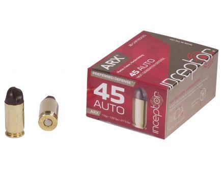 Inceptor Preferred Defense 118 gr ARX .45 Auto Ammo, 20/box - 45ARXBR11820