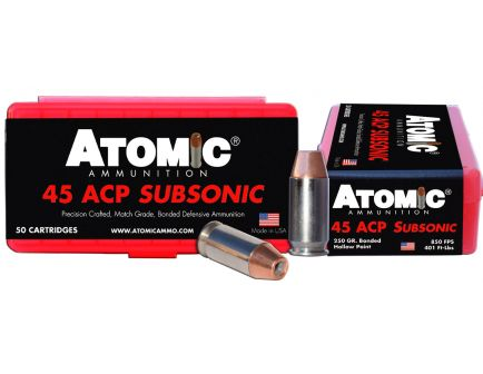 Atomic Ammunition 250 gr Bonded Match Hollow Point .45 ACP Subsonic Ammo, 50/box - 00439