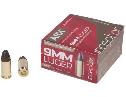 Inceptor Preferred Defense 65 gr ARX 9mm Ammo, 25/box - 9ARXBRLUG65