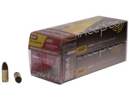Inceptor Sport & Carry 65 gr ARX/RNP 9mm +P Ammo, 125/box - 9RNPARXBRLUG