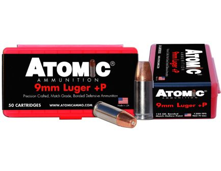 Atomic Ammunition 124 gr Bonded Match Hollow Point 9mm +P Ammo, 50/box - 00409