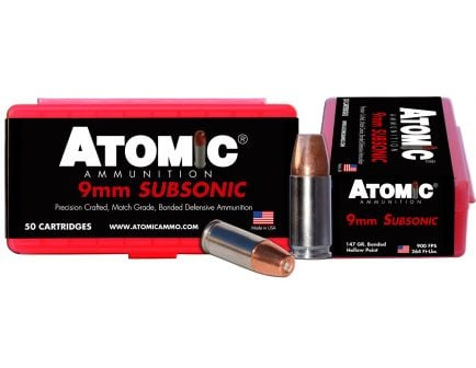 Atomic Ammunition 147 gr Bonded Match Hollow Point 9mm +P Ammo, 50/box - 00438
