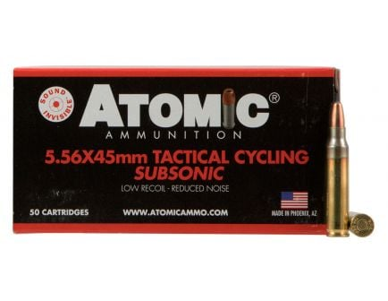 Atomic Ammunition Tactical Cycling Subsonic 112 gr Soft Point Round Nose .223 Rem/5.56 Ammo, 50/box - 408