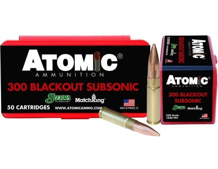 Atomic Ammunition Subsonic 220 gr Hollow Point Boat Tail MatchKing .300 Blackout Ammo, 50/box - 465