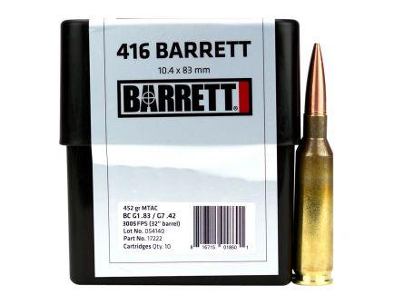 Barrett Firearms 452 gr Cutting Edge MTAC .416 Barrett Ammo, 10/box - 17222