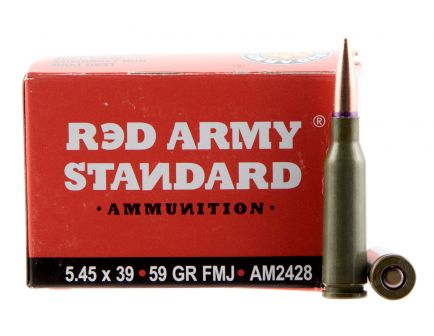 Century Arms Red Army Standard 59 gr Full Metal Jacket Boat Tail 5.45x39mm Ammo, 20/box - AM2428
