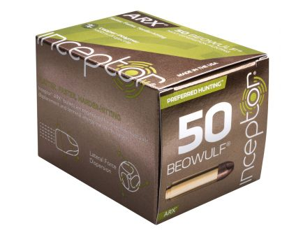 Inceptor Preferred Hunting 200 gr ARX .50 Beowulf Ammo, 20/box - 50BEOARXBR20