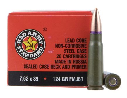 Century Arms Red Army Standard 124 gr Full Metal Jacket Boat Tail 7.62x39mm Ammo, 1000 Rounds - AM2423