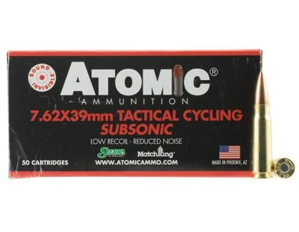Atomic Ammunition Tactical Cycling Subsonic 220 gr Hollow Point Boat Tail MatchKing 7.62x39mm Ammo, 50/box - 474