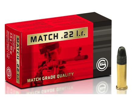 Geco Match 40 gr Lead Round Nose .22lr Ammo, 50/box - 235940050
