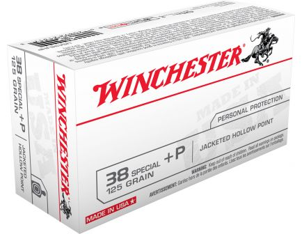 Winchester Ammunition USA 125 gr Jacketed Hollow Point .38 Spl +P Ammo, 50/box - USA38JHP