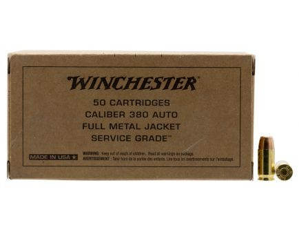 Winchester Ammunition Service Grade 95 gr Full Metal Jacket Flat Nose .380 Auto Ammo, 50/box - SG380W