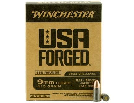 Winchester Ammunition USA Forged 115 gr Full Metal Jacket 9mm Ammo, 150/box - WIN9S