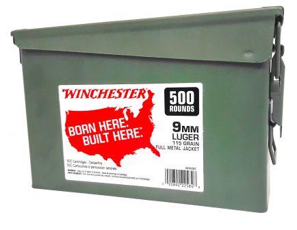 Winchester Ammunition USA 115 gr Full Metal Jacket 9mm Ammo, 500/box - WW9C