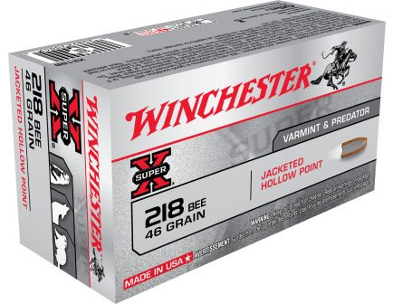 Winchester Ammunition Super-X 46 gr Jacketed Hollow Point .218 Bee Ammo, 50/box - X218B
