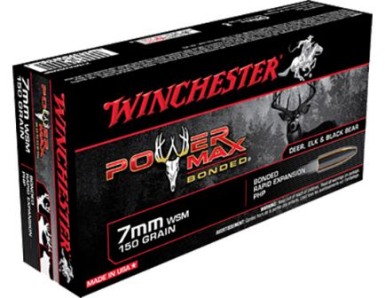 Winchester Ammunition Power Max Bonded 150 gr Rapid Expansion, Protected Hollow Point 7mm WSM Ammo, 20/box - X7MMWSMBP