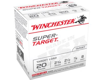 "Winchester Ammunition Super Target 2.75"" 20 Gauge Ammo 8, 25/box - TRGT208"