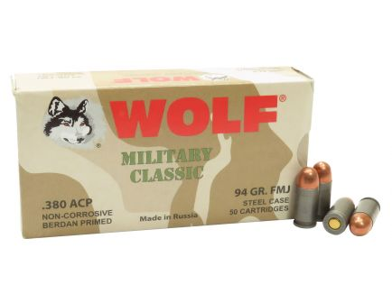 Wolf Performance Military Classic 94 gr Full Metal Jacket .380 ACP Ammo, 50/box - MC917FMJ