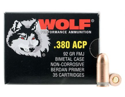 Wolf Performance PolyFormance 91 gr Full Metal Jacket .380 Auto Ammo, 50/box - 917FMJ