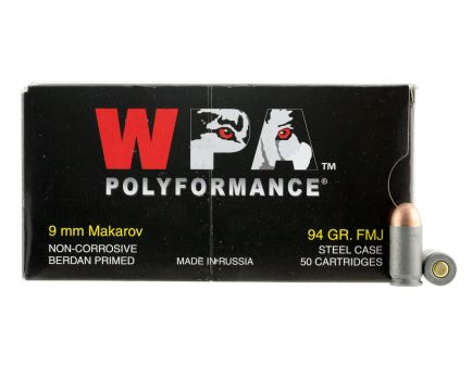Wolf Performance PolyFormance 94 gr Full Metal Jacket 9x18mm Makarov Ammo, 1000 Rounds - 918FMJ