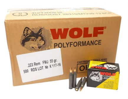 Wolf Performance PolyFormance 55 gr Full Metal Jacket .223 Rem/5.56 Ammo, 20/box - 22355CFMJ