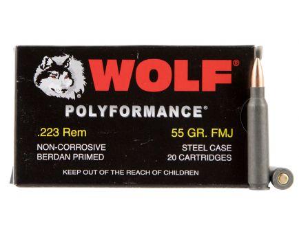 Wolf Performance PolyFormance 55 gr Full Metal Jacket .223 Rem/5.56 Ammo, 20/box - 22355