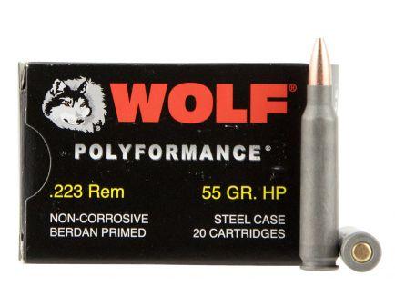 Wolf Performance PolyFormance 55 gr Hollow Point .223 Rem/5.56 Ammo, 500rd - 22355HP