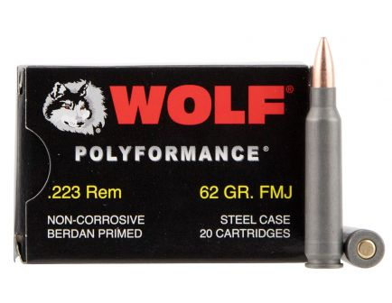 Wolf Performance PolyFormance 62 gr Full Metal Jacket .223 Rem/5.56 Ammo, 20/box - 22362FMJ
