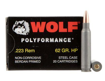 Wolf Performance PolyFormance 62 gr Hollow Point .223 Rem/5.56 Ammo, 500rd - 22362HP