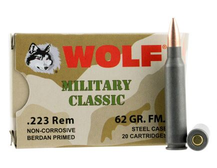 Wolf Performance Military Classic 62 gr Full Metal Jacket .223 Rem/5.56 Ammo, 20/box - MC22362FMJ