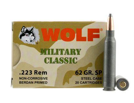 Wolf Performance Military Classic 62 gr Soft Point .223 Rem/5.56 Ammo, 20/box - MC22362SP