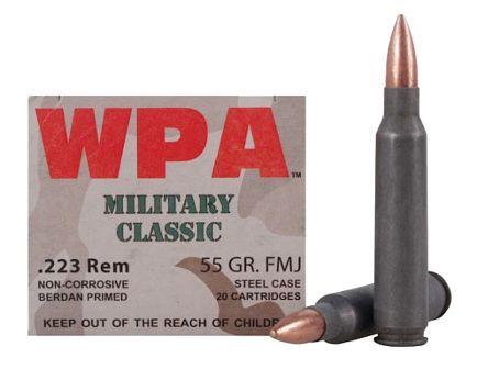 Wolf Performance Military Classic 55 gr Full Metal Jacket .223 Rem/5.56 Ammo, 20/box - MC22355FMJ