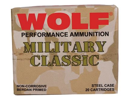 Wolf Performance Military Classic 168 gr Full Metal Jacket .30-06 Spfld Ammo, 500/case - MC3006FMJ168