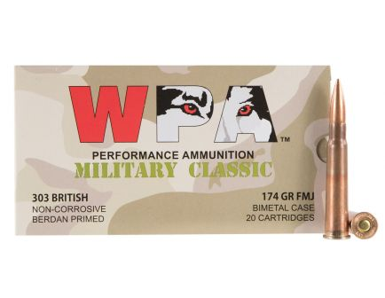 Wolf Performance Military Classic 174 gr Full Metal Jacket .303 British Ammo, 280/case - MC303BRITH