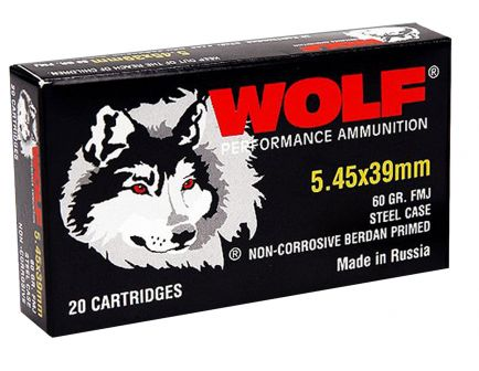Wolf Performance PolyFormance 60 gr Full Metal Jacket 5.45x39mm Ammo, 750/case - 545BFMJ