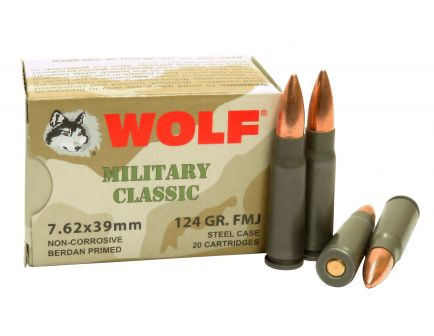 Wolf Performance Military Classic 124 gr Full Metal Jacket 7.62x39mm Ammo, 1000 rds/case - MC762BFMJ