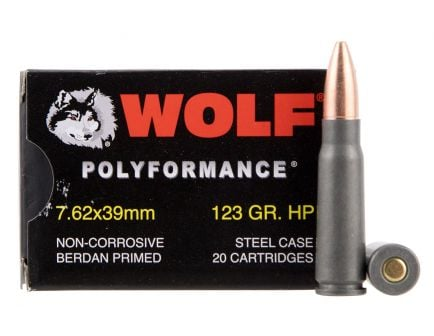 Wolf Performance PolyFormance 123 gr Hollow Point 7.62x39mm Ammo, 1000 rds/case - 762BHP