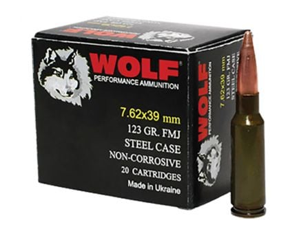 Wolf Performance 123 gr Full Metal Jacket 7.62x39mm Ammo, 1000 rds/case - 762WFMJ