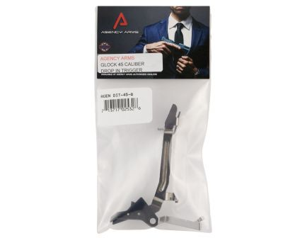 Agency Arms Flat Face Drop-in Trigger for Glock 20, 21 Gen 3 and 4 Pistols, Black - DIT-45-B