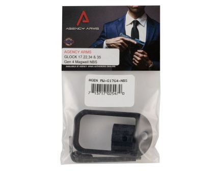 Agency Arms 6061 T6 Aluminum Magwell for Glock 17 Gen 4 Pistol, Hard Anodized Black - MW-G17G4-NBS