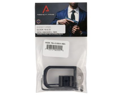 Agency Arms 6061 T6 Aluminum Magwell for Glock 19 Gen 4 Pistol, Hard Anodized Black - MW-G19G4-NBS
