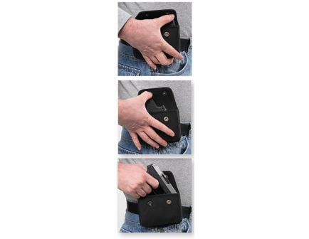 Bulldog Cases Ambidextrous Hand Mini .380 Autos Horizontal Concealed Carry Outside-The-Waistband Cell Phone Holster, Smooth Black Vinyl - BD840