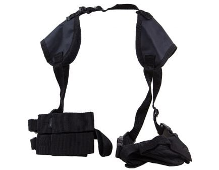Bulldog Cases Deluxe Shoulder 8 Horizontal Harness w/ Holster and Ammo Pouch, Nylon Black - WSHD8