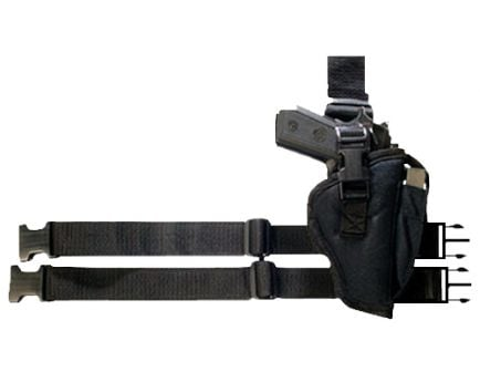 """Bulldog Cases Large Right Hand 3.5"""" to 5"""" Beretta/Taurus 92 Tactical Leg Holster, Smooth Black - WTAC-8R"""